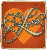 scheda Mano-indicata da lettere dei biglietti di S. Valentino dell'annata Fotografia Stock