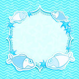 Scheda marina blu dell'invito con le stelle marine Immagine Stock