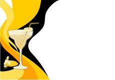 Scheda nera e gialla del cocktail Fotografie Stock Libere da Diritti