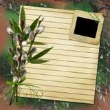 Scheda per il disegno con lo strato ed il salice Fotografia Stock Libera da Diritti