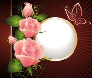 Scheda per il giorno del biglietto di S. Valentino con la farfalla e le rose Fotografie Stock
