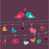 Scheda romantica con gli uccelli nell'amore Immagini Stock Libere da Diritti