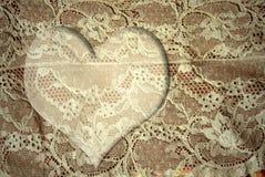 Scheda romantica del cuore del pizzo Fotografie Stock Libere da Diritti