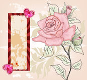 Scheda romantica dell'invito con le rose disegnate a mano Fotografia Stock