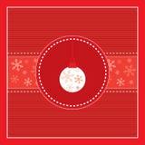 Scheda rossa allegra di Buon Natale con i decori dell'albero Fotografia Stock