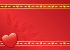 Scheda rossa con la decorazione dorata Fotografia Stock Libera da Diritti