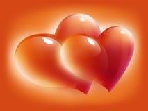 Scheda rossa dei cuori per il giorno del biglietto di S. Valentino Fotografie Stock