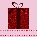 Scheda rossa del contenitore di regalo e del biglietto di S. Valentino dei cuori. ENV 8 Fotografia Stock