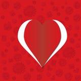 Scheda rossa del giorno del biglietto di S. Valentino del cuore Illustrazione Vettoriale