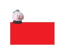 Scheda rossa di natale con il pupazzo di neve Fotografia Stock