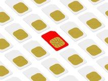 Scheda rossa di SIM all'interno di bianco un Immagine Stock Libera da Diritti