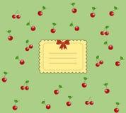 Scheda saporita della ciliegia dell'annata illustrazione di stock