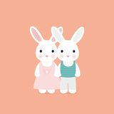 Scheda sveglia di amore del coniglio Fotografia Stock Libera da Diritti