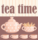Scheda. Un tema bevente del tè. royalty illustrazione gratis