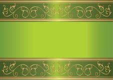 Scheda verde con il disegno floreale dell'oro Fotografia Stock Libera da Diritti