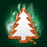 Scheda verde dell'albero di Natale con caffè Immagini Stock Libere da Diritti