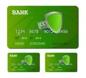 Scheda verde di debito o di credito Immagine Stock Libera da Diritti