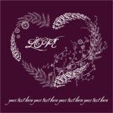 Scheda viola del biglietto di S. Valentino con cuore floreale Fotografia Stock
