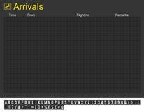 Scheda vuota di arrivi dell'aeroporto internazionale Immagine Stock Libera da Diritti