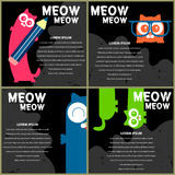 Schede con i gattini divertenti Immagini Stock