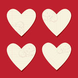 Schede del biglietto di S. Valentino dal foglio di carta Immagine Stock
