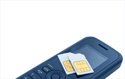 schede del sim del wo del ½ del ¿ del ï sul telefono mobile. Immagini Stock