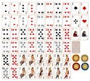 Schede di gioco & chesspieces Fotografia Stock Libera da Diritti