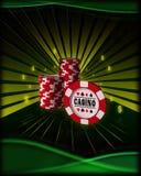 Schede di gioco, chip di mazza Immagine Stock Libera da Diritti