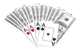 Schede di gioco e dei soldi, giocanti Fotografia Stock Libera da Diritti