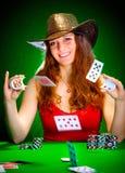 Schede di gioco e della ragazza Fotografie Stock Libere da Diritti
