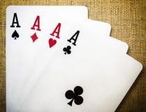Schede di gioco - quattro assi Immagini Stock