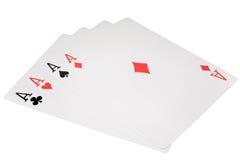 Schede di gioco quattro assi isolati su bianco Fotografie Stock