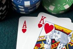 Schede di gioco, re dell'asso Fotografie Stock