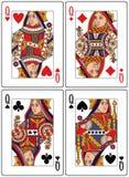 Schede di gioco - regine Fotografia Stock