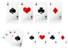 Schede di gioco sopra bianco Fotografie Stock