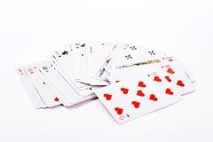 Schede di gioco su priorità bassa bianca Immagini Stock Libere da Diritti