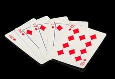 Schede di gioco sul nero Fotografia Stock Libera da Diritti