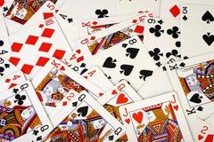 Schede di gioco sulla tabella Fotografia Stock Libera da Diritti