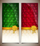 Schede di regalo verde-rosse astratte Immagini Stock Libere da Diritti