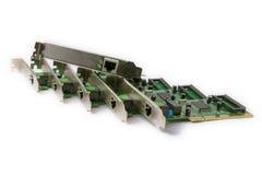 Schede di rete per il computer su un fondo bianco Fotografie Stock