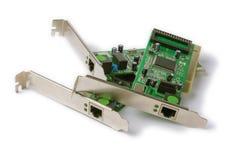 Schede di rete per il computer su un fondo bianco Fotografie Stock Libere da Diritti