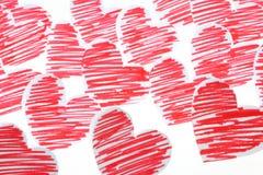 Schede disegnate a mano del cuore Immagine Stock Libera da Diritti