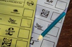 Schede elettorali BRITANNICHE Fotografie Stock Libere da Diritti