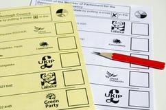 Schede elettorali, elezione BRITANNICA Immagini Stock