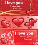 Schede rosse di amore illustrazione di stock