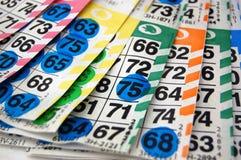 Schede/schede di Bingo Immagini Stock Libere da Diritti