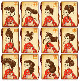 Schede zodiacali cinesi Fotografia Stock Libera da Diritti