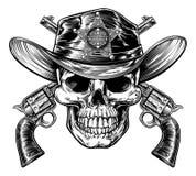Schedel in Cowboysheriff Hat met Pistolen royalty-vrije illustratie