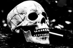 Schedel die een Sigaret roken Royalty-vrije Stock Afbeelding