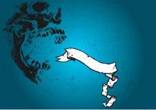 Schedel en banner op blauw vector illustratie